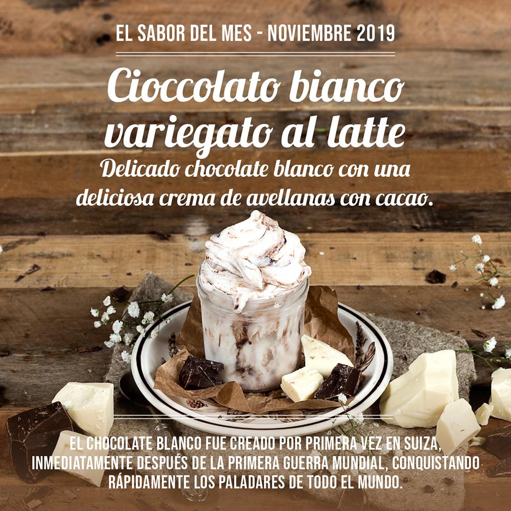 Cioccolato bianco variegato al latte ,sabor del mes noviembre